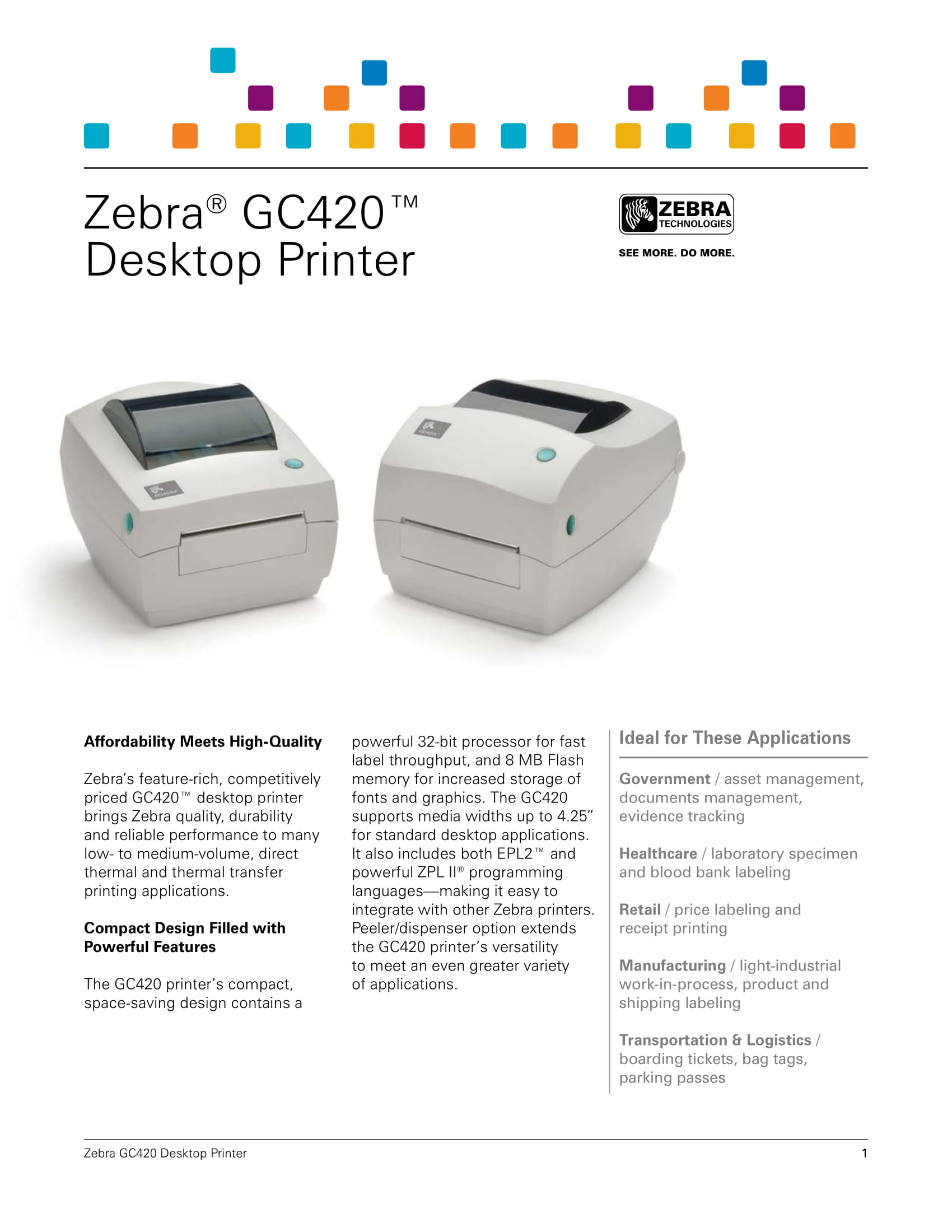 GC420t Zebra Barcode Printer